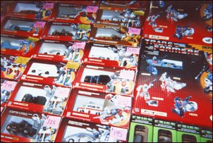The sales tables were loaded with still-boxed circa 1985 transformers, going for the paltry sum of about $300 each.